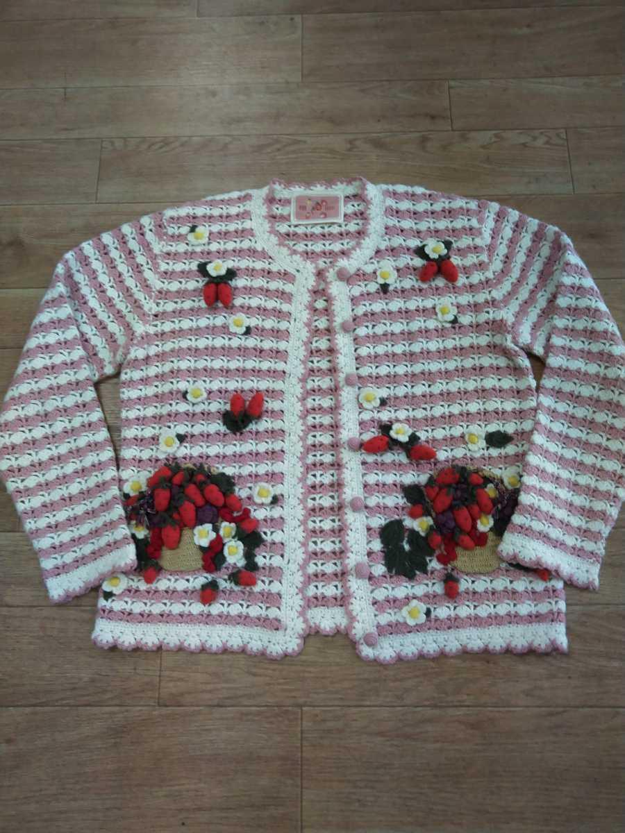 未着用!★ピンクハウス★イチゴ&お花のモチーフ使いがとっても可愛い透かし編みカーディガン(ピンクXオフ)★フリーサイズ★カネコイサオ