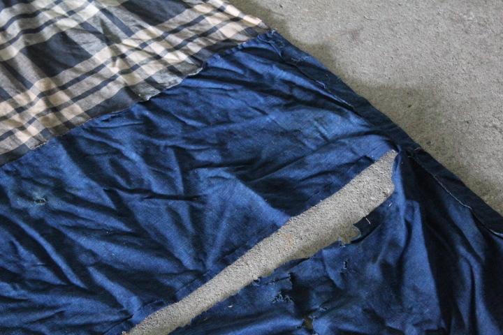 TB526襤褸 ボロ 木綿藍染 288×287cm◇はぎれ/刺子/縞帖/風呂敷/布団皮/古布/リメイク素材/継ぎ接ぎ/古道具タグボート_画像2