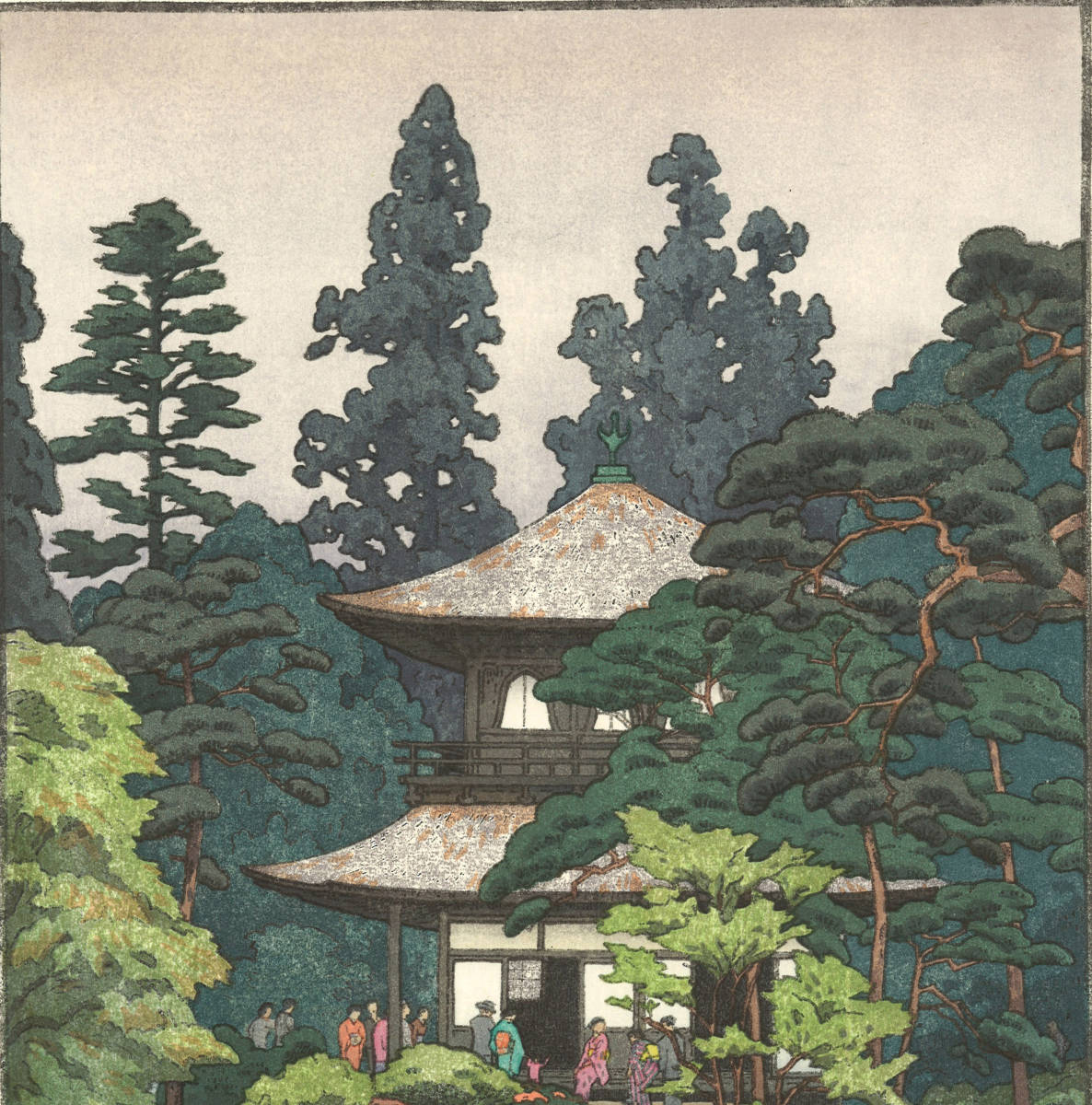 吉田遠志 木版画 015112 銀閣 Silver pavilion kyoto 初摺1951年   最高峰の摺師の技をご堪能下さい!!_画像6