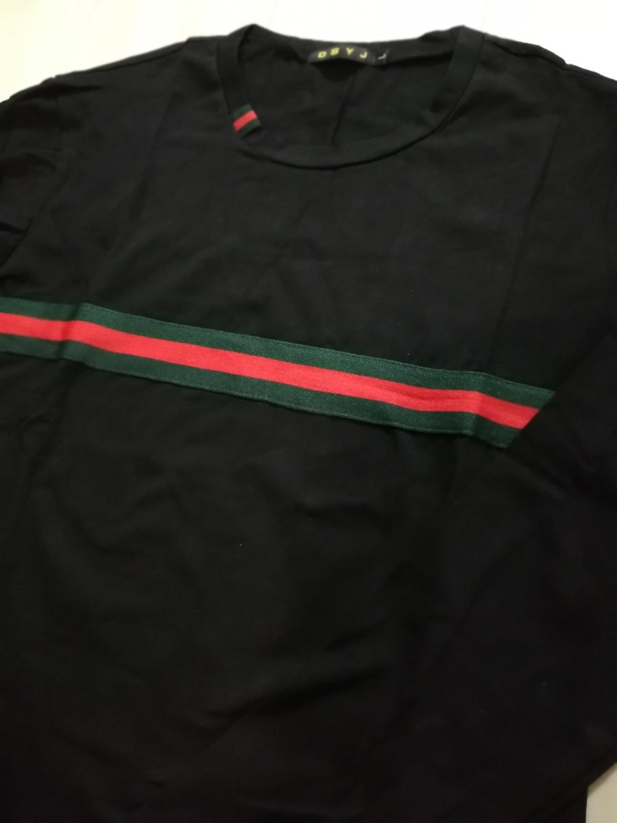 長袖Tシャツ センターライン カットソー ロンティー メンズ ブラック