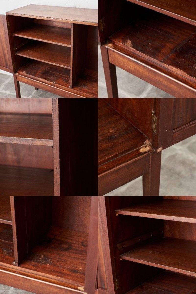 IZ43401C○アンティーク マホガニー キャビネット 木製 天然木 サイドボード 飾り棚 本棚 書棚 カップボード 食器棚 コンパクト 収納家具_画像9