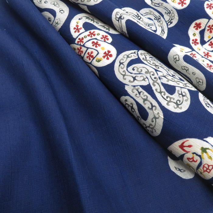 ★きもの北條★ 特選 小島直次郎 紬 名古屋帯 素材の風合い映える逸品 藍色 反物 A505-14 【新品】_画像3
