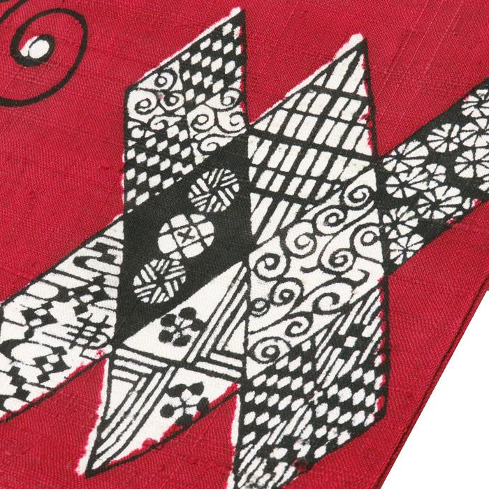 ★きもの北條★ 特選 国画会 立花長子 紬地 蝶の図 臙脂色 名古屋帯 A524-12 【中古】_画像3