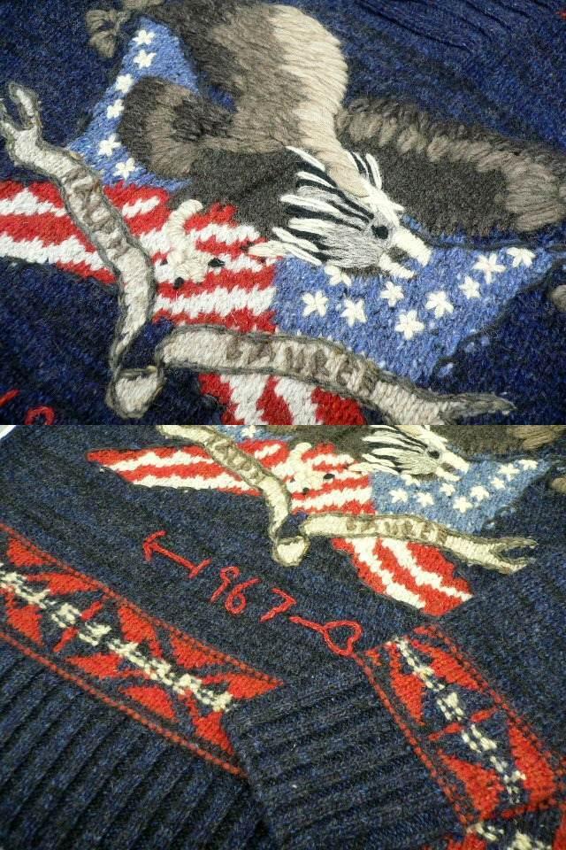 US M★ポロ ラルフローレン イーグル ショールカラーセーター POLO RALPH LAUREN SHAWL KNIT アメリカ正規 カウチン ネイティブ (5943)_画像5