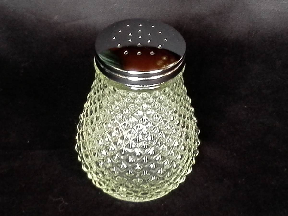 昭和レトロ ガラス製  ミルク&ハニーポット はちみつ入れ 調味料入れ  ソルト&ペッパー 3種4点セット 未使用_画像8