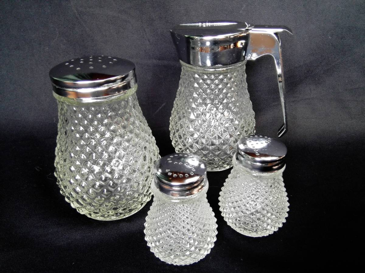 昭和レトロ ガラス製  ミルク&ハニーポット はちみつ入れ 調味料入れ  ソルト&ペッパー 3種4点セット 未使用_画像1