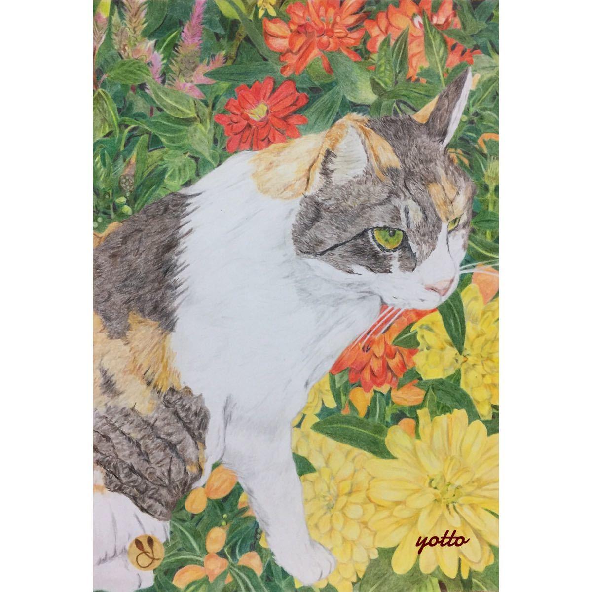 色鉛筆画「 絆 」A4・額付き◇◆手描き◇原画◆猫◇◆yotto_画像1