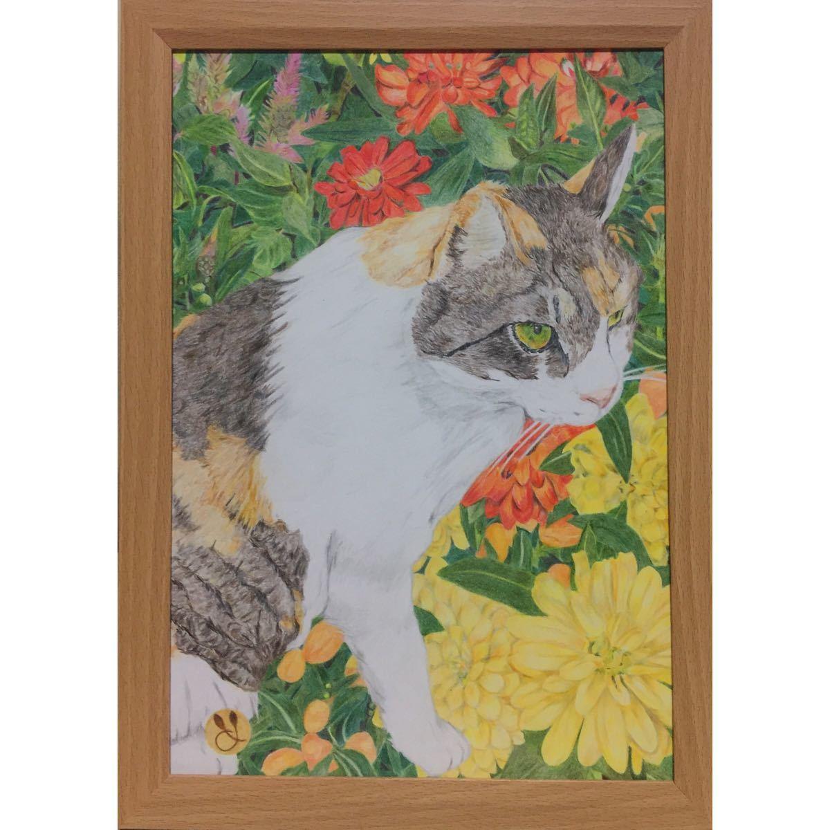 色鉛筆画「 絆 」A4・額付き◇◆手描き◇原画◆猫◇◆yotto_画像2