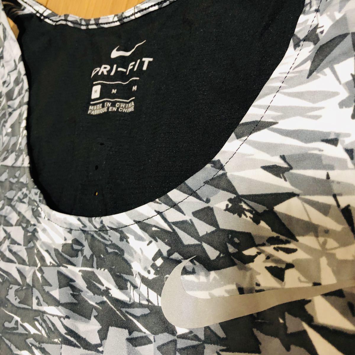 NIKE ナイキ シングレット タンクトップ ランニング マラソン 陸上ランニングシャツ ブリーズ ラン 黒 ダイヤ柄 古着