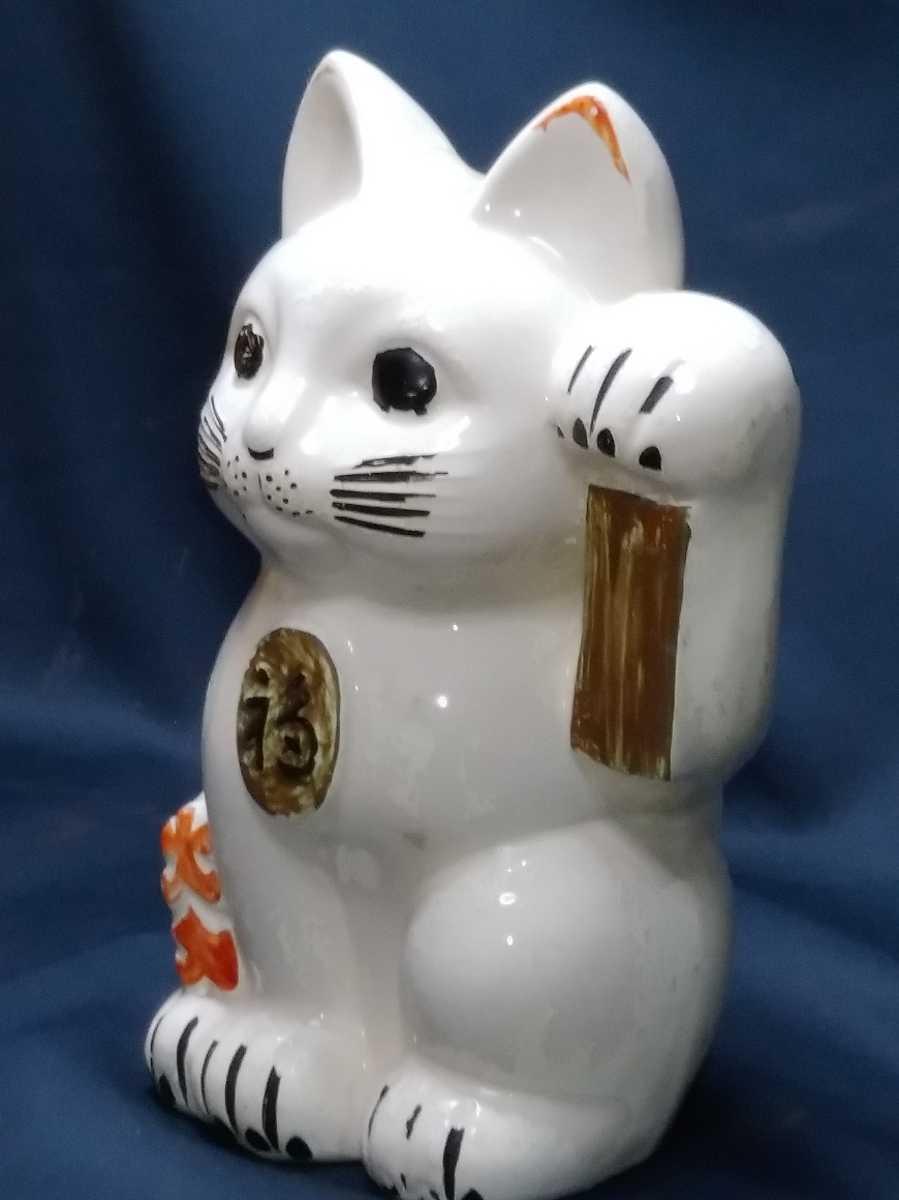 年代物 招き猫 磁器製 左手招き 高さ約32cm 明治 大正 昭和 置物 縁起物 貯金箱_画像2