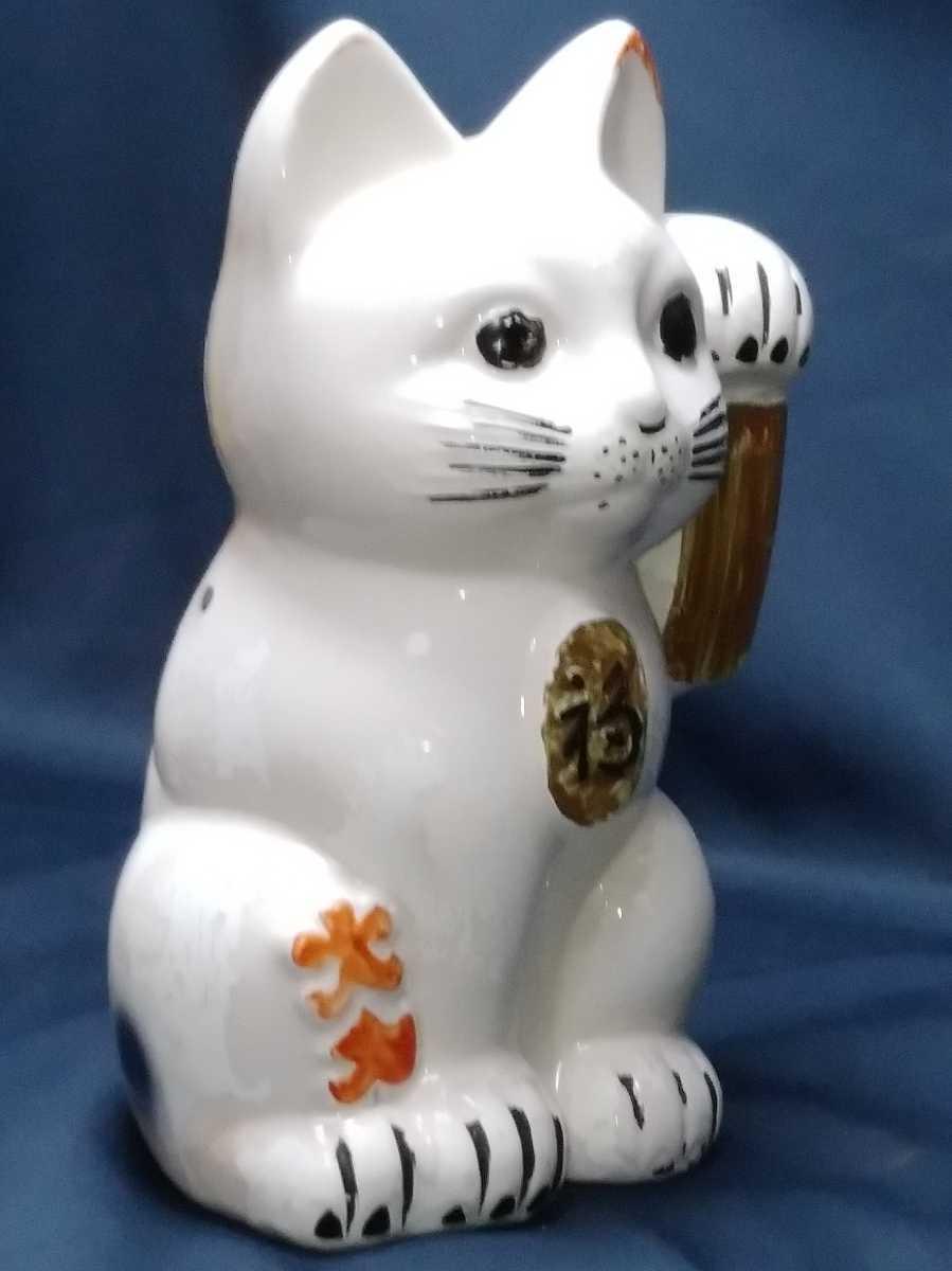 年代物 招き猫 磁器製 左手招き 高さ約32cm 明治 大正 昭和 置物 縁起物 貯金箱_画像3