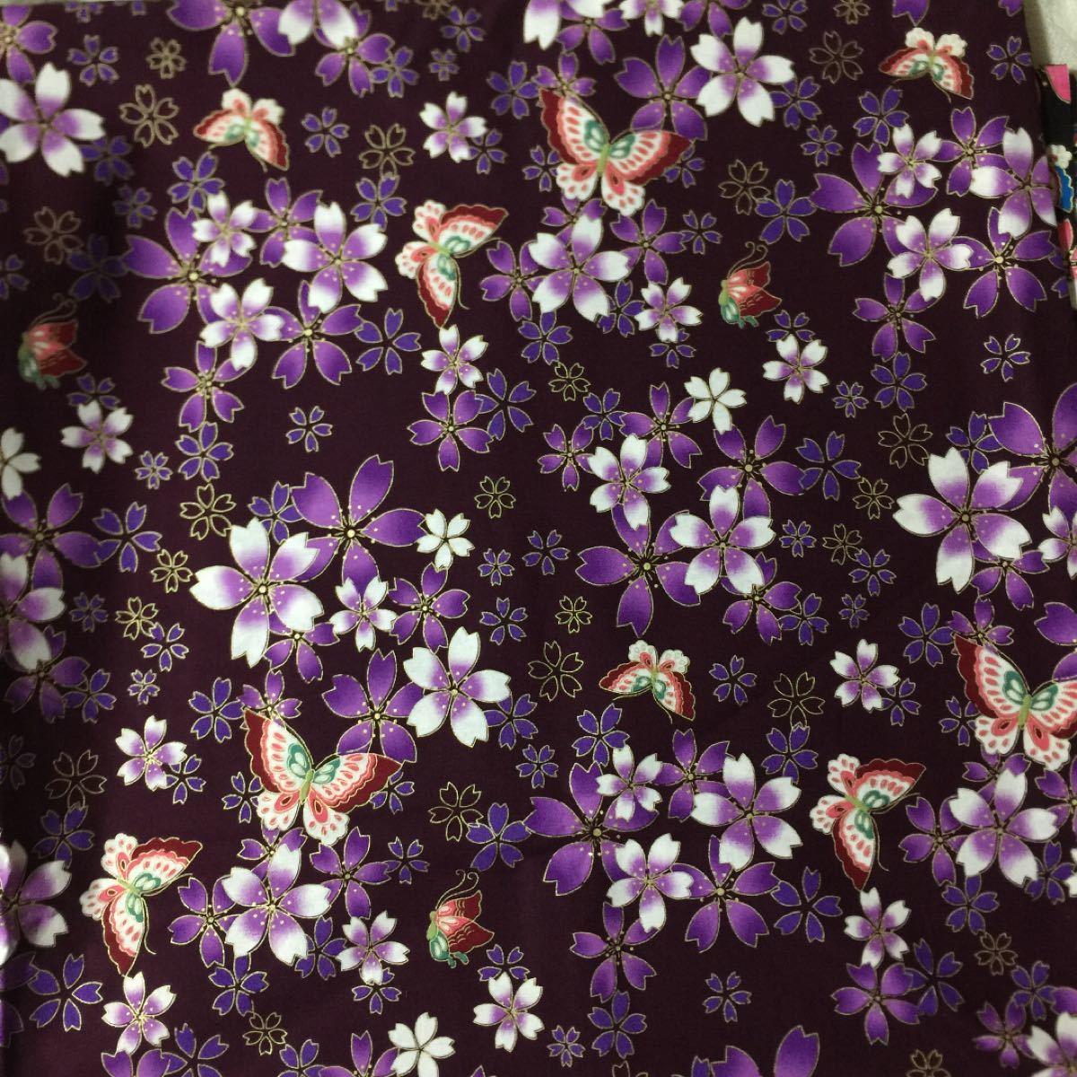 生地 ハギレ 和柄 桜と蝶 花柄 各50cm 金糸プリント 二色セット