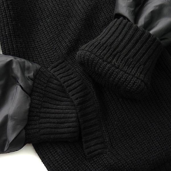 新品 3.6万 インターメッツォ 中綿 リバーシブル ウール混 ニット ブルゾン M 黒 赤 【J51532】 INTERMEZZO 秋冬 メンズ 畦編み セーター_画像7