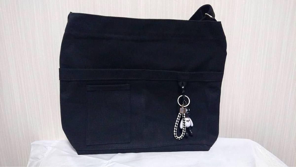 トートバッグ ショルダーバッグ 2way ブラック シンプル キャンバスバッグ