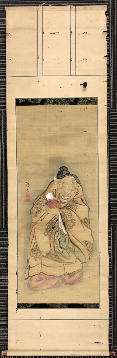 1120-06◎人物画 掛軸 掛け軸 肉筆 絹本 在銘 落款 骨董 古美術 サイズ:約148×42cm_画像2