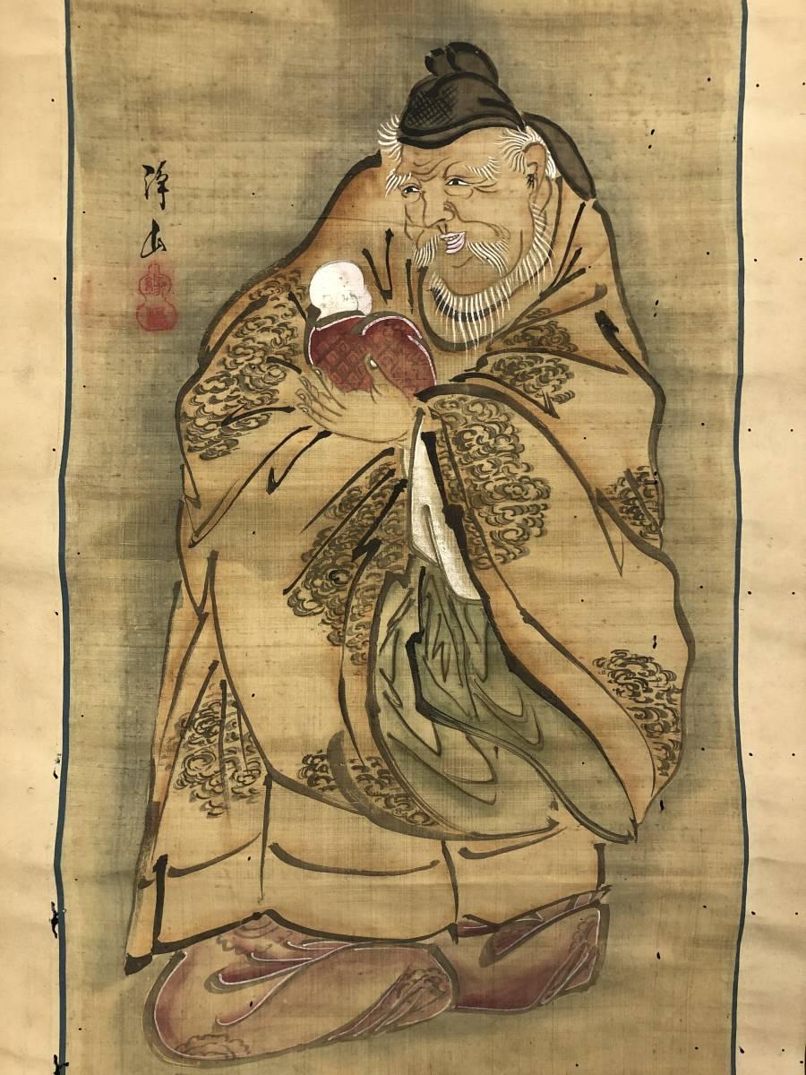1120-06◎人物画 掛軸 掛け軸 肉筆 絹本 在銘 落款 骨董 古美術 サイズ:約148×42cm_画像3