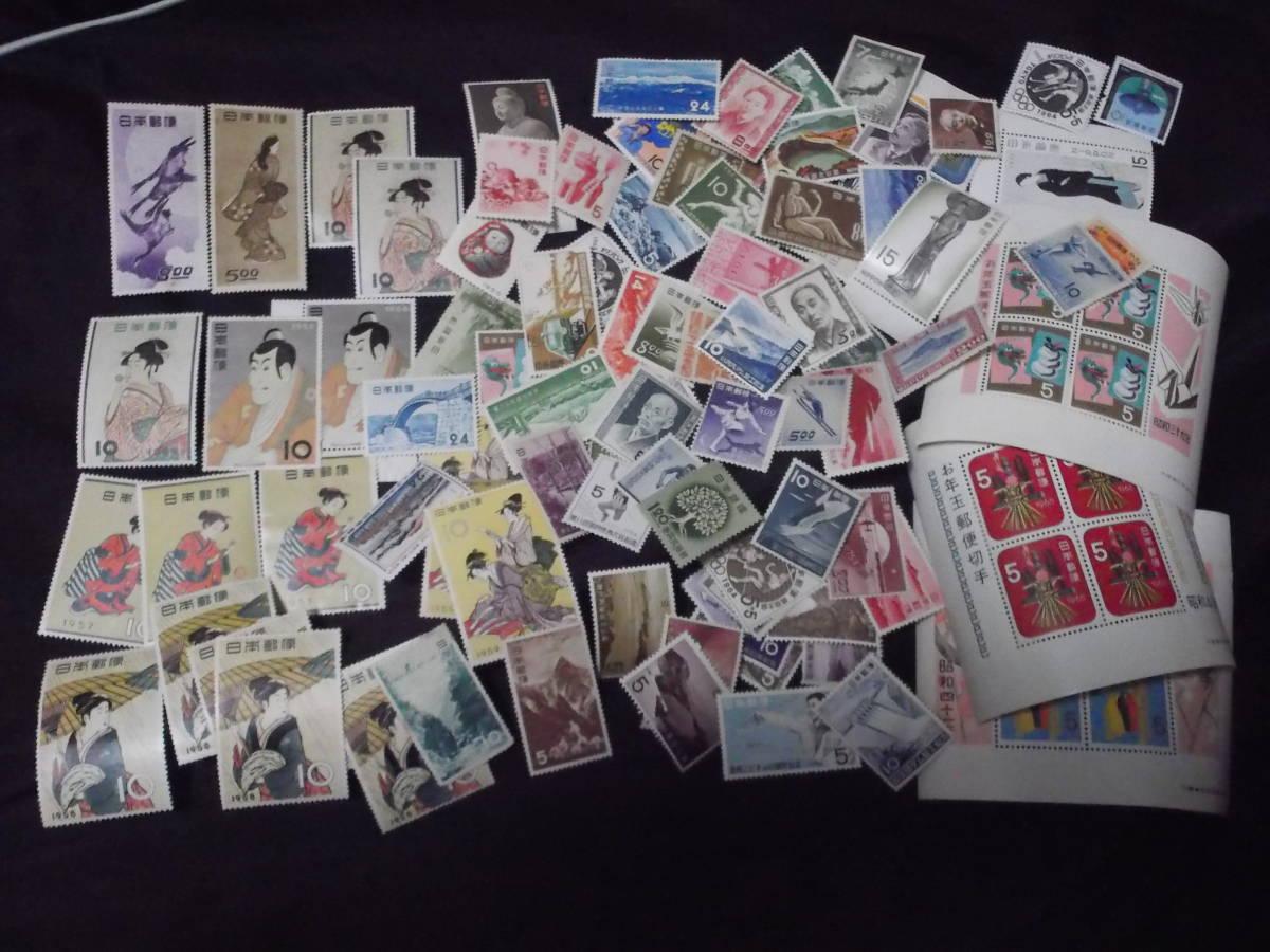 送料無料! 切手趣味週間 月に雁 見返り美人 ビードロ 写楽 その他古い切手まとめて100枚_画像1
