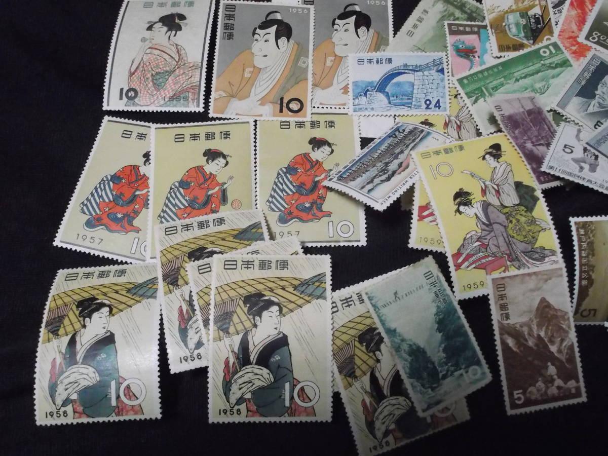送料無料! 切手趣味週間 月に雁 見返り美人 ビードロ 写楽 その他古い切手まとめて100枚_画像4