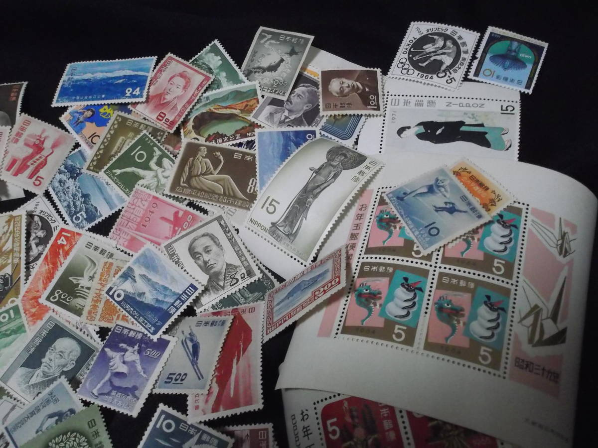送料無料! 切手趣味週間 月に雁 見返り美人 ビードロ 写楽 その他古い切手まとめて100枚_画像5