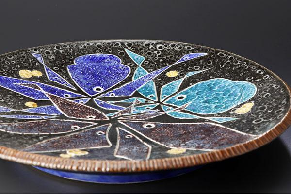 【古美味】二代浅蔵五十吉作 刻磁彩魚の和飾皿 茶道具 保証品 C9sB_画像4