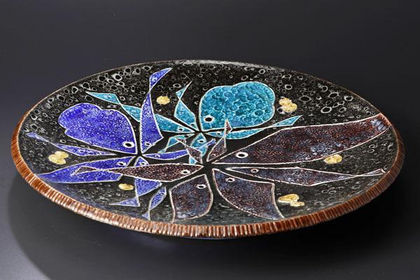 【古美味】二代浅蔵五十吉作 刻磁彩魚の和飾皿 茶道具 保証品 C9sB_画像2