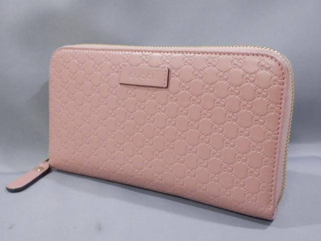1円 超美品 GUCCI グッチ マイクロシマ レザー ラウンドファスナー 長財布 ピンク系×ゴールド