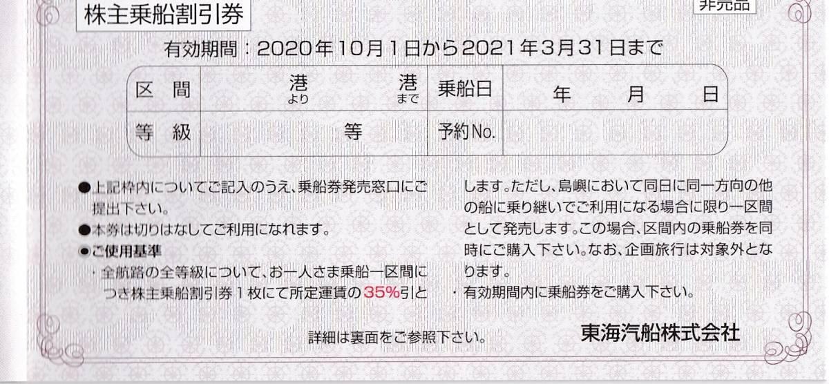 【送料込み】東海汽船 株主乗船割引券 6枚_画像2