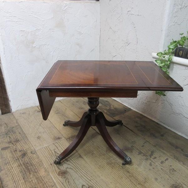 イギリス アンティーク 家具 コーヒーテーブル センターテーブル バタフライ 飾り棚 木製 マホガニー 英国 SMALLTABLE 6555b_画像3
