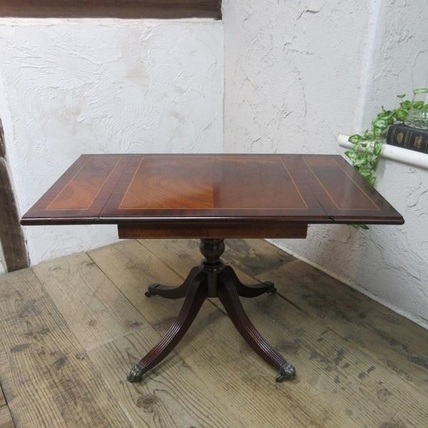 イギリス アンティーク 家具 コーヒーテーブル センターテーブル バタフライ 飾り棚 木製 マホガニー 英国 SMALLTABLE 6555b_画像2
