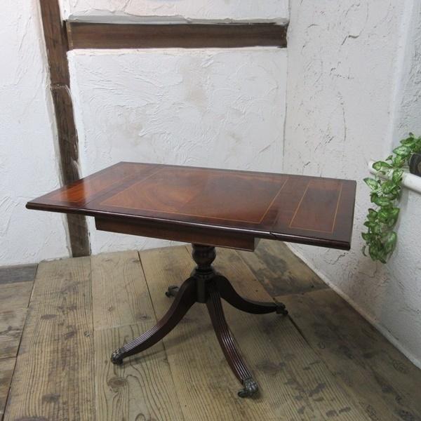 イギリス アンティーク 家具 コーヒーテーブル センターテーブル バタフライ 飾り棚 木製 マホガニー 英国 SMALLTABLE 6555b_画像1