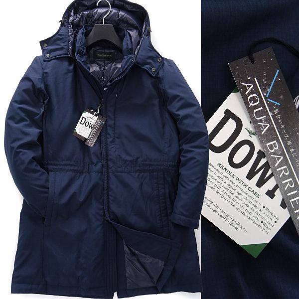 新品 ダーバン 撥水 AQUA BARRIER リップストップ ダウンコート L 紺 【J47156】 D'URBAN 秋冬 コート メンズ シングル フード ビジネス