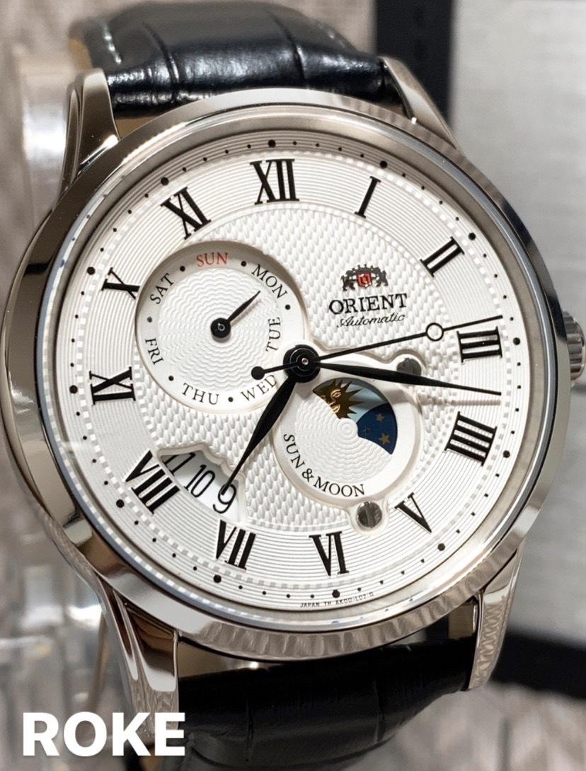 新品 ORIENT(オリエント) 正規品 腕時計 日本製 自動巻き サンアンドムーン アンティーク腕時計 レザーベルト ホワイト 機械式腕時計