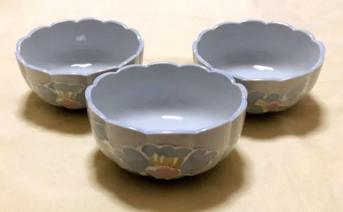 未使用 陶磁器 有田焼 善山造 輪花形 花柄 小茶碗小鉢 3個_画像1