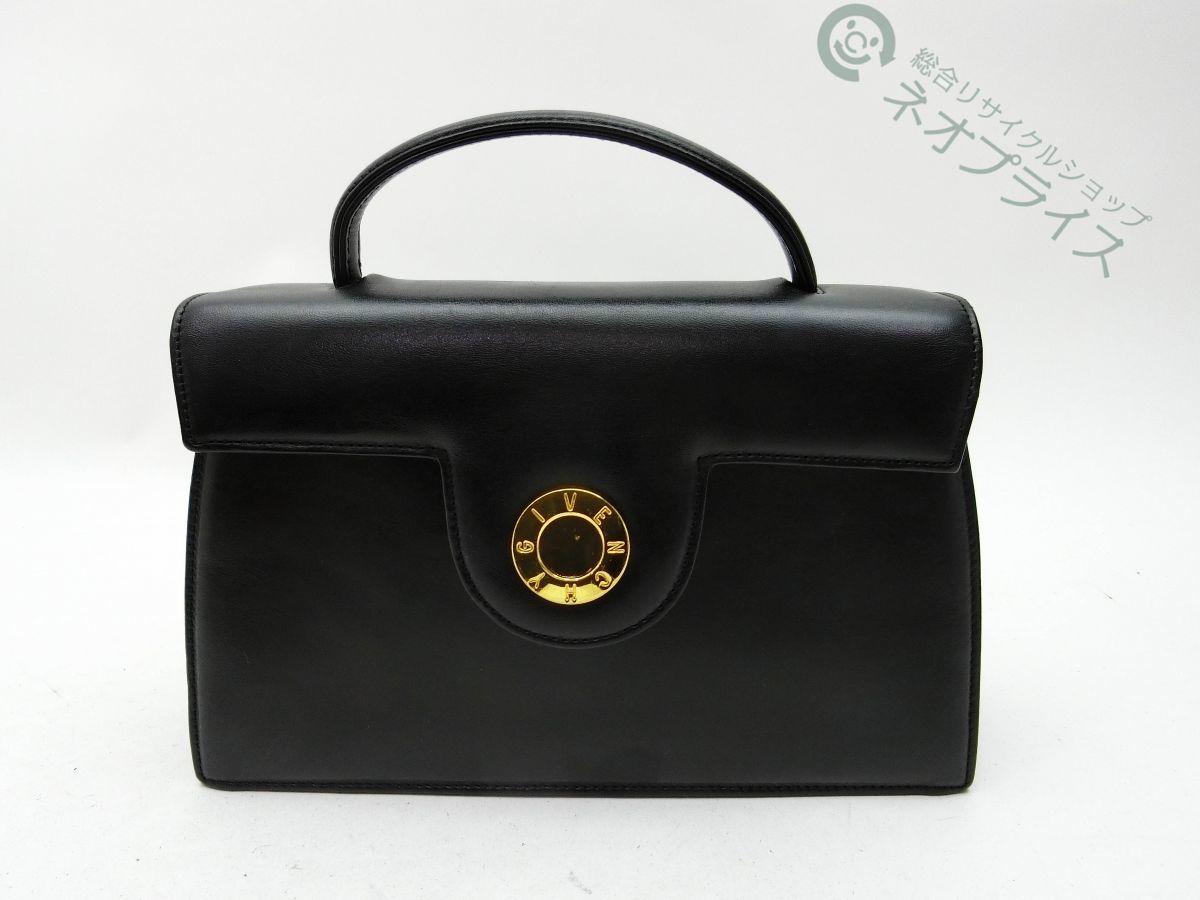 ◆Y2340 GIVENCHY ジバンシー サークル ロゴ金具 レザー ハンド バッグ