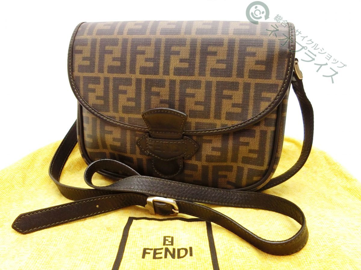 ◆S4640 FENDI フェンディ ズッカ柄 PVC × レザー ショルダー バッグ