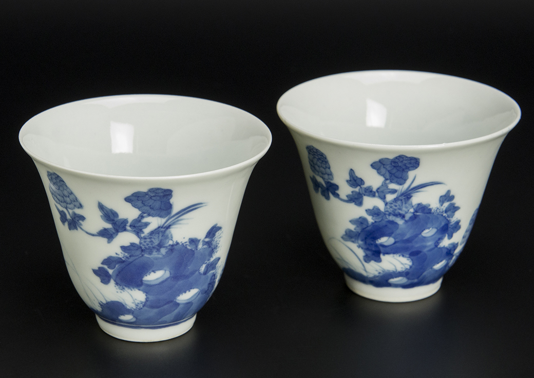 清 青花花鳥詩文杯 一對 珍玉堂制款 中国 古美術_画像2