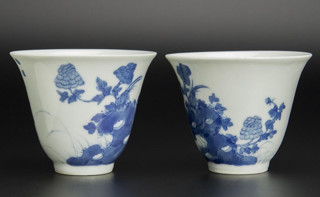 清 青花花鳥詩文杯 一對 珍玉堂制款 中国 古美術_画像3