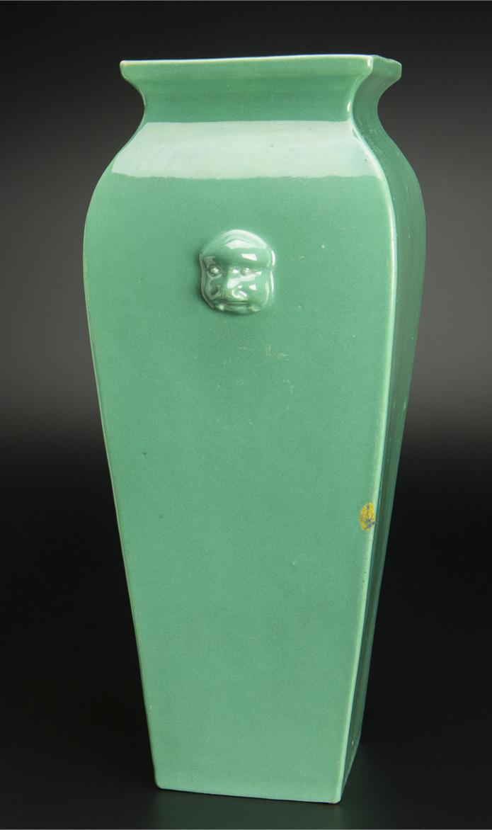 清 青釉方瓶 大清雍正年制款 共箱 中国 古美術_画像5