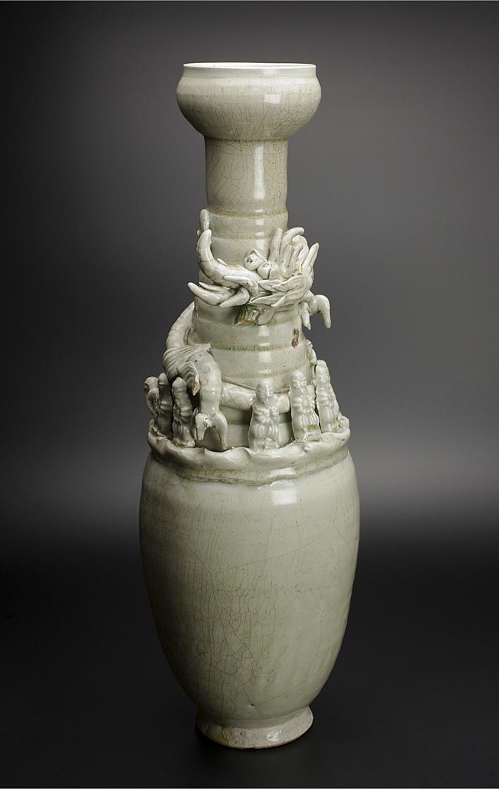 宋 青釉長頸瓶 共箱 中国 古美術_画像2