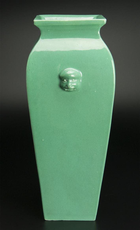 清 青釉方瓶 大清雍正年制款 共箱 中国 古美術_画像4