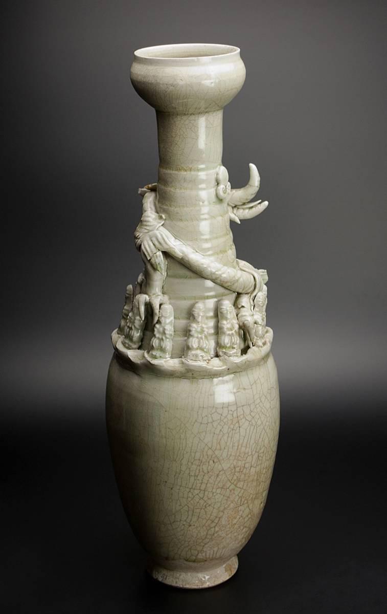 宋 青釉長頸瓶 共箱 中国 古美術_画像4