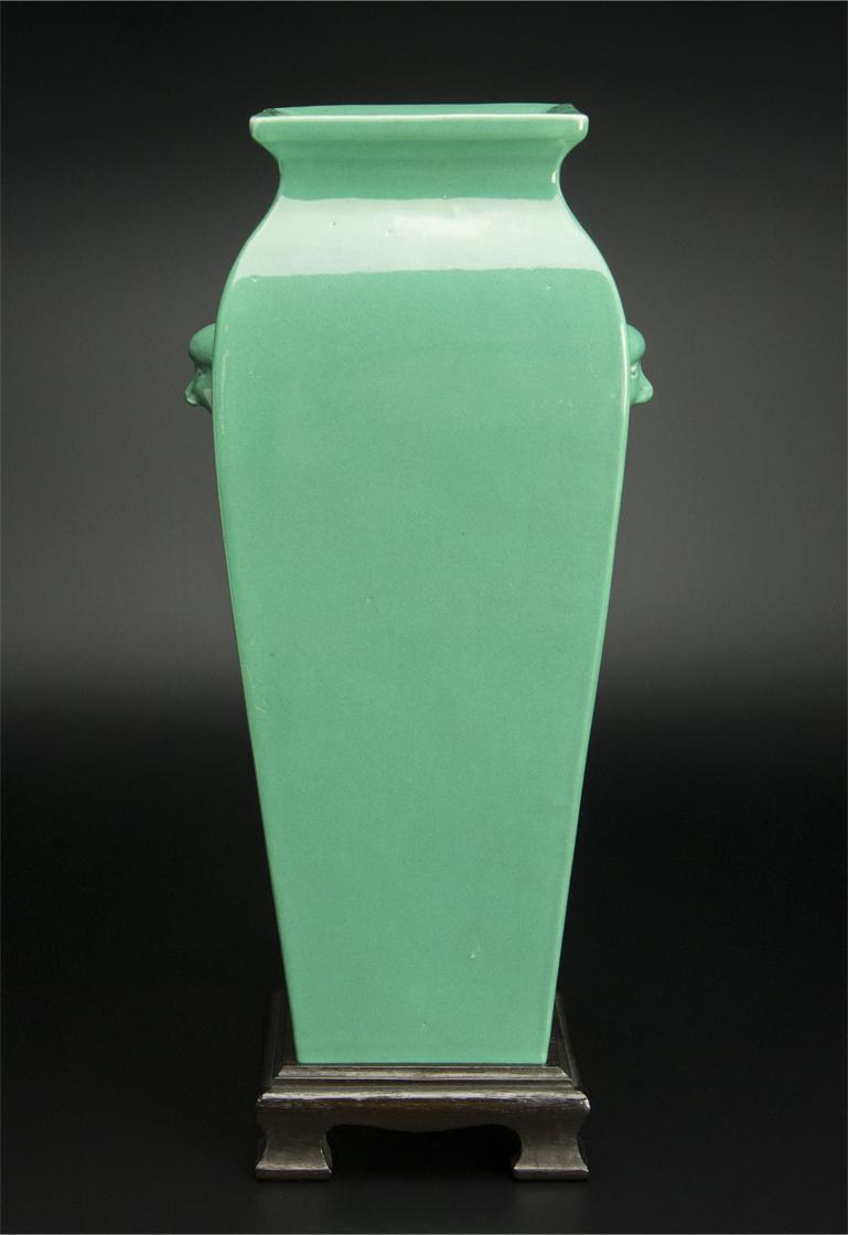 清 青釉方瓶 大清雍正年制款 共箱 中国 古美術_画像2