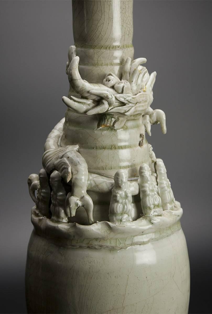 宋 青釉長頸瓶 共箱 中国 古美術_画像6