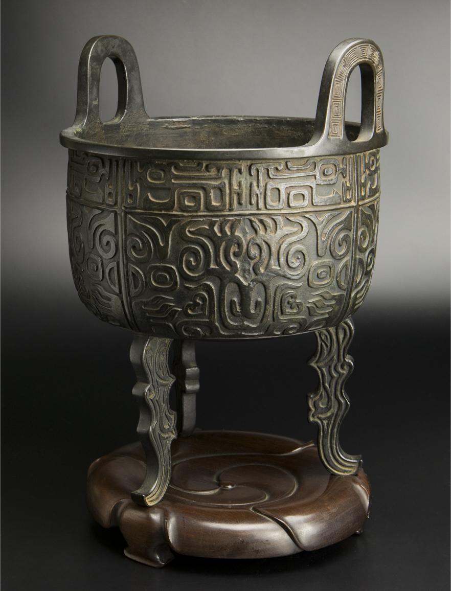 清 銅饕餮紋大炉 大明宣徳年制款 中国 古美術_画像4