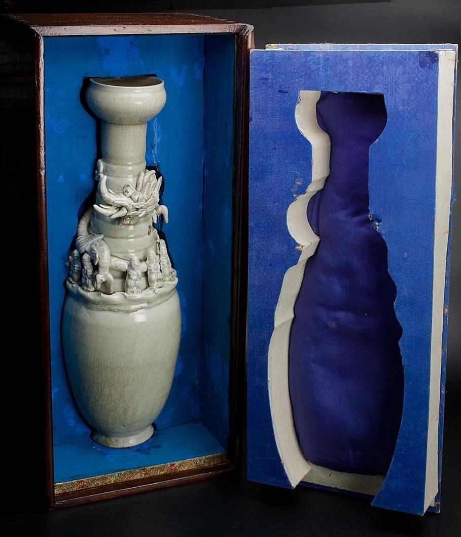 宋 青釉長頸瓶 共箱 中国 古美術_画像10