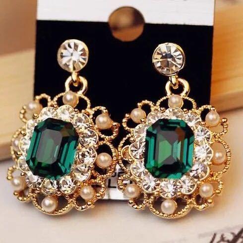 女性のファッションジュエリーのための真珠のイヤリングクリスタル幾何学的な正方形のドロップピアス_画像8