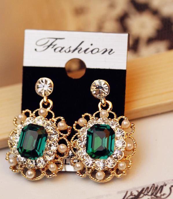 女性のファッションジュエリーのための真珠のイヤリングクリスタル幾何学的な正方形のドロップピアス_画像6