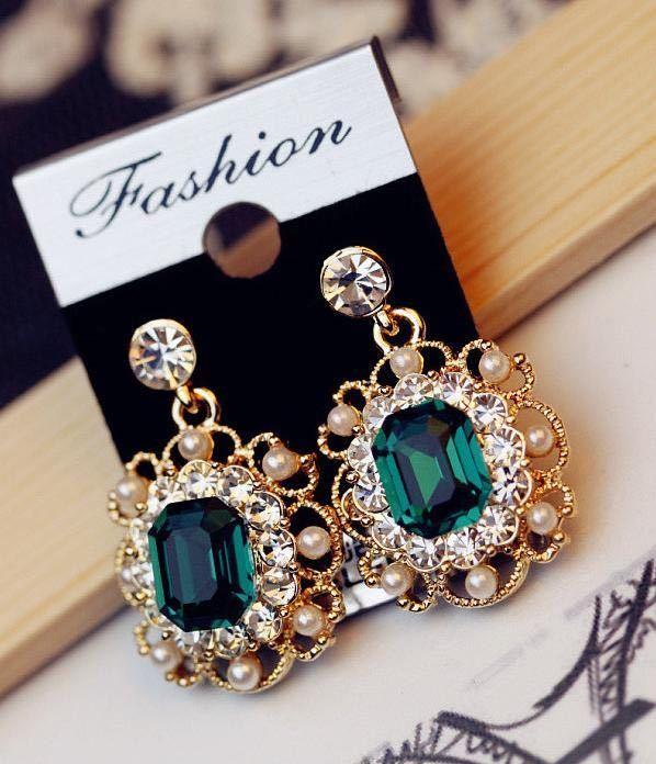 女性のファッションジュエリーのための真珠のイヤリングクリスタル幾何学的な正方形のドロップピアス_画像7