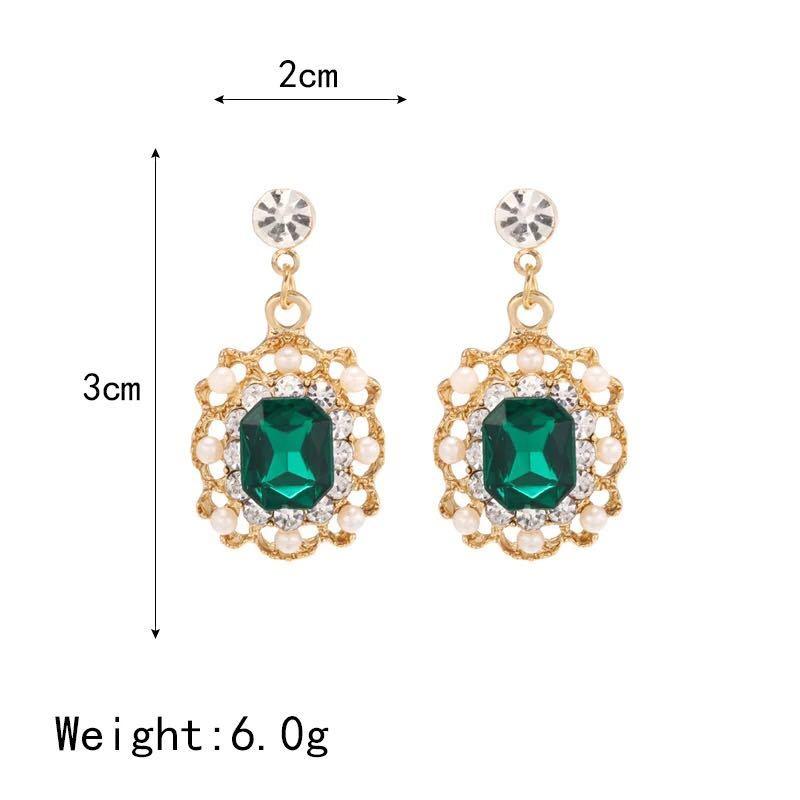 女性のファッションジュエリーのための真珠のイヤリングクリスタル幾何学的な正方形のドロップピアス_画像2