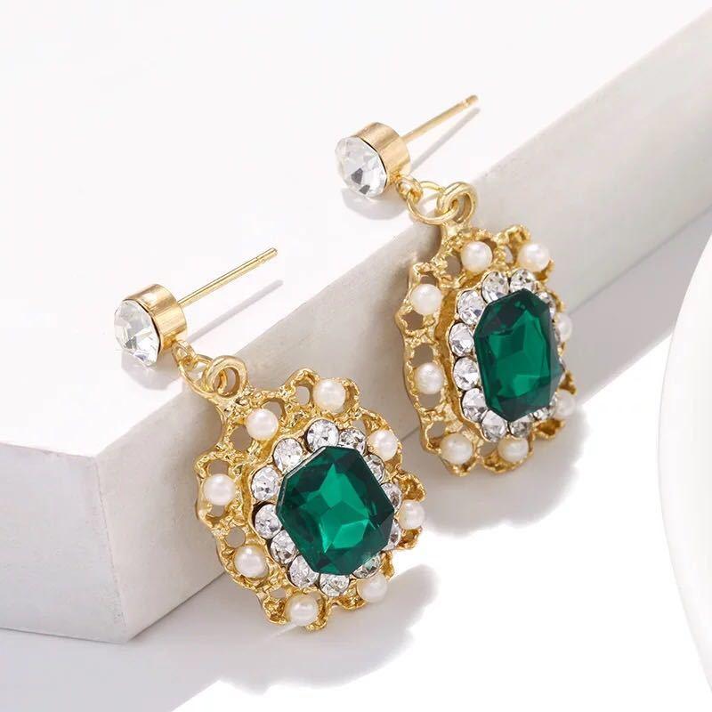 女性のファッションジュエリーのための真珠のイヤリングクリスタル幾何学的な正方形のドロップピアス_画像4
